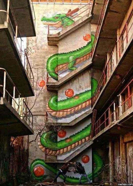 Amazing Dragon Ball Staircase Art