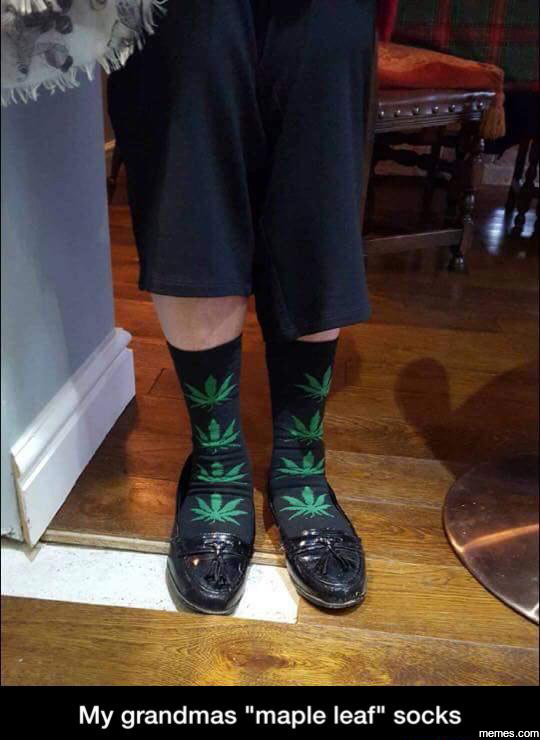 My grandmas maple leaf socks…