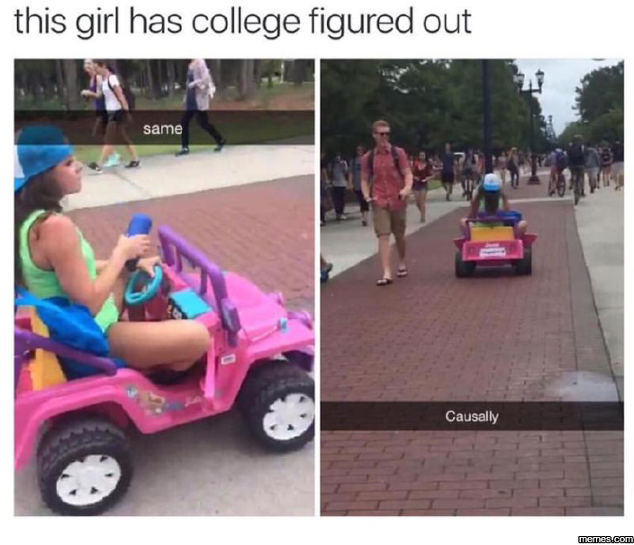 This girl has college figured out