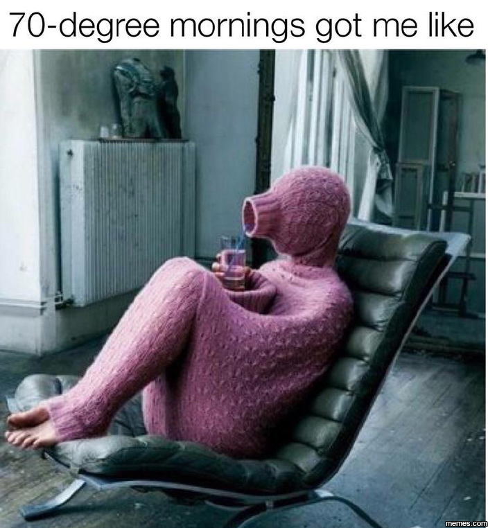 Cold mornings got me like