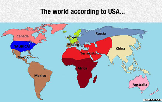 Funny World Map According Usa