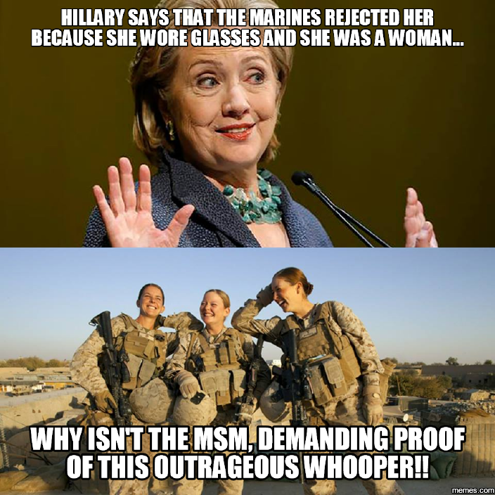Image result for hillary US MARINES MEME
