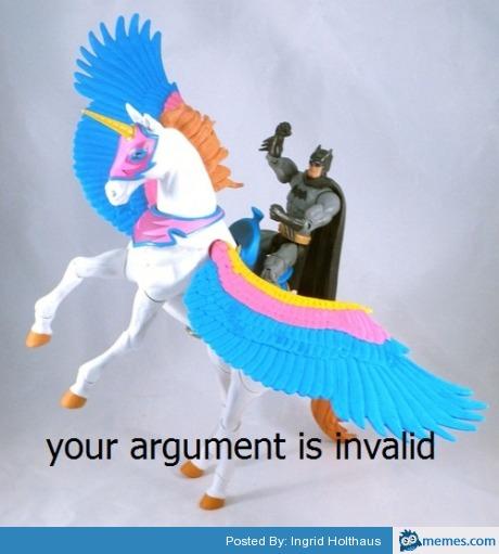 Image result for batman unicorn argument invalid