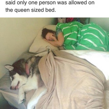 Only one person was allowed on the bed