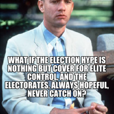 what if The election hype is nothing but cover for elite control, and the electorates, always hopeful, never catch on?