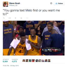 You gonna text melo first...
