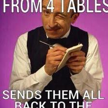 Takes order from 4 tables...
