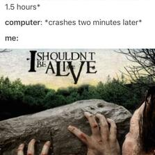 Crashes two minutes later...