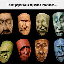 Toilet paper rolls squished into faces