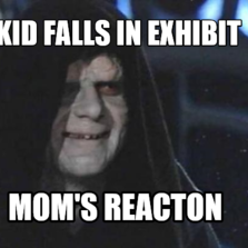 KId falls in exhibit mom's reacton
