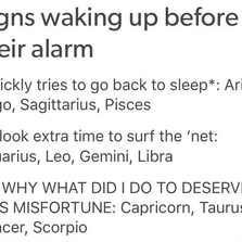 Signs waking up before their alarm
