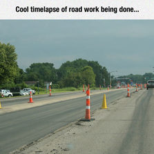 Timelapse of road work being done