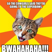 so the cowgirls said they're going to the superbowl. bwahahaha!!!