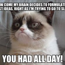 How come my brain decides to formulate its best ideas, right as I'm trying to go to sleep? You had all day!