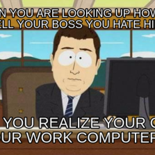 When you are looking up how to tell your boss you hate him And you realize your on your work computer