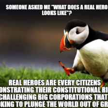 Real heroes are every citizens demonstrating their constitutional rights by challenging big corporations that are looking to plunge the worl