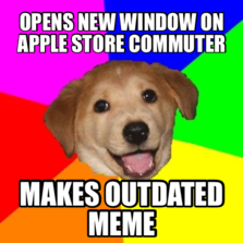 opens new window on Apple Store commuter makes outdated meme