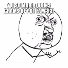 Y U SO MAD I TOOK 5 GRAMS OF POT FAM?!?!
