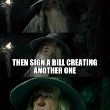 One does not speak against a bank and its power then sign a bill creating another one