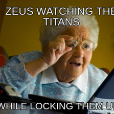Zeus watching the titans while locking them up
