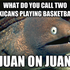 Two Mexicans playing basketball