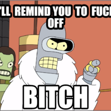 i'll  remind you  to  fuck off bitch