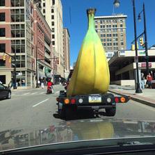 Driving behind a banana